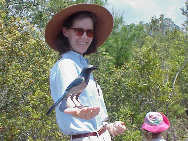 Susie with Scrub Jay in hand